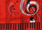 CLEF NOTE WITH KEYBOARD SCARF   RED