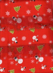 SNOWMAN AND XMAS TREE SCARF  RED